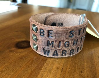 Wide leather cuff (hand-stamped)