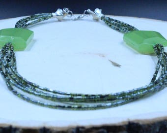 Green Bead Multi-Strand Necklace