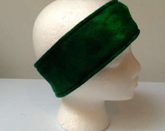 Green Fleece ear warmer, fleece headband, green blended fleece, winter wear