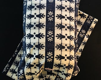 African pillow shams (2) - two standard pillow cases - navy and white