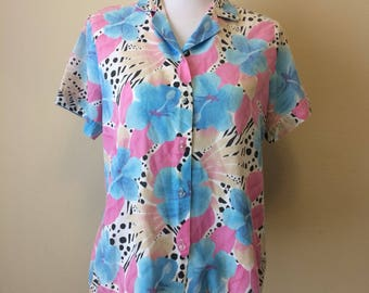 Vintage 80s Blair Floral Print Blouse   1980s Pastel Button Down Top