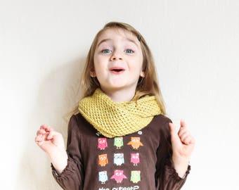 Yellow Merino Wool Infinity Scarf hand knit