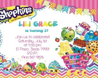 shopkins invitation birthday invitation  heavy cardstock or digital