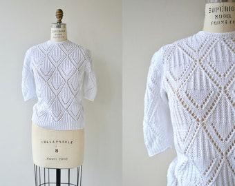 Summer Cotton sweater | vintage white sweater | 1980s short sleeve sweater