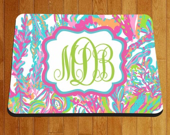 monogram mouse pad personalized mouse pad custom mouse pad mouse pad floral design mouse pad personalized gift  for her