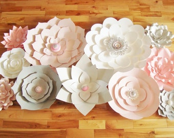 Set of 11 flowers - Paper Flowers   Paper Flowers for Nursery   Paper Flower Backdrop   Paper Flower   Paper Flower Wall   Paper Flower Art