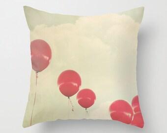Red Balloons pillowcase - Chic Home Decor  - Vintage Photograph throw pillow - Balloons pillow
