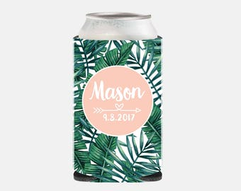 Beach Wedding Favors for Guests Tropical Banana Leaf Can Cooler Wedding Party Favors Can Cooler Wedding Favors Pink Wedding Favors Leaves YZ