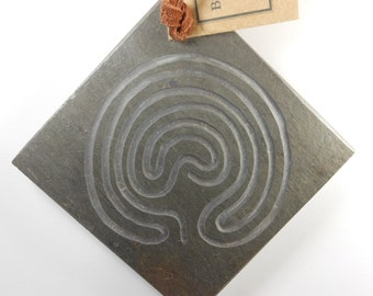 LABYRINTH Wall Hanger - Carved Troy Pathway (Single Path) - Finger Maze Meditation Tile, Hand Carved Slate Stone, Spiritual Art, Wall Art