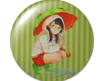 Set of 2 round 25mm manga girl glass cabochon