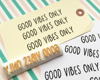 good vibes only rubber stamp | calligraphy word stamp | motivational quote | gift for her | diy card making | hand carved by talktothesun