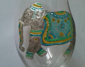 Painted beer glass: green and blue Asian elephant