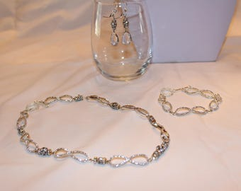 Bridal Jewelry Set, Necklace, Earrings and Bracelet, Wedding Jewelry, Prom Jewelry, Crystal Jewelry