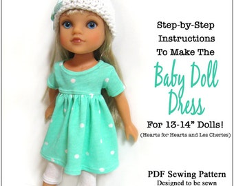 Pixie Faire 123 Mulberry St Baby Doll Dress Doll Clothes Pattern for 13-14 inch Hearts for Hearts or Les Cheries Dolls - PDF- PDF
