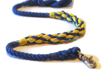 Blue and Yellow Cotton Rope Dog Leash | Michigan Dog Leash | Chargers Dog Leash | Nautical Dog | Modern Dog | Custom Leash | Gift for Her