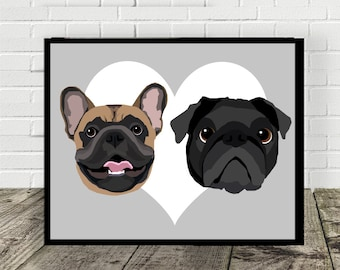 TWO-IN-ONE Custom Pet Portrait | Digital File | Print at Home | Pet Gift | Made to Order