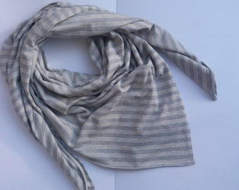 Oversized woman's scarf, Blanket scarf for woman, Cotton gray shawl with white stripes, Cozy Christmas gift idea, Exclusive Unique wrap