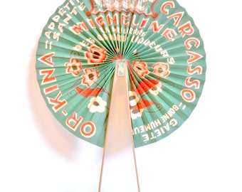 FORMER range PUB green retro vintage Micheline and gold-kina Sabatier Carcassonne wood and paper Vintage french fan publicity alcohol