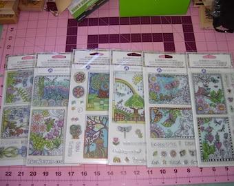 Hampton Art set of 7 Coloring Clear Stamps