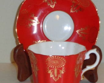 Royal Grafton Red and Gold Cup and Saucer Bone China Made in England