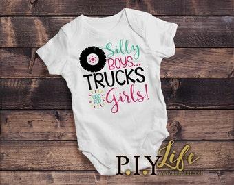 Kids    Silly Boys Trucks are for Girls Kids Bodysuit DTG Printing on Demand