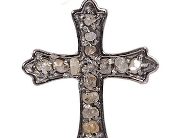 Spring Sale 925 Solid Silver Pave Diamond Cross Charm Pendant Black Polish