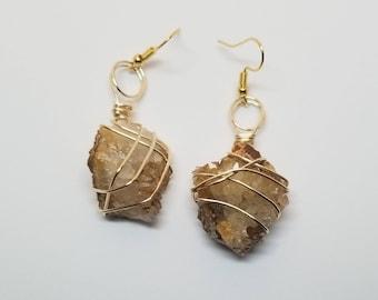 Wire Wrapped Quartz Earrings