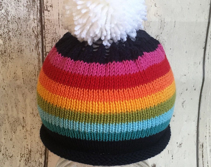 baby knitted beanie hat rainbow peace  child toddler baby baby shower photo prop wintercottonhospital hat