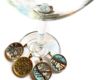 Map Wine Charms, charm set, Forks, Volterra, Seattle, Jacksonville, Set of Four map charms