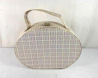 VintagePurple White wicker Handbag Vintage rattan basket handbag Elegant retro woven straw basket bag