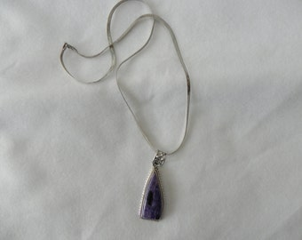 Vintage  Charoite Pendant  Sterling Silver With 22 Inch Snake Chain