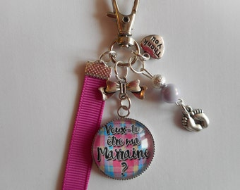 "Keychain bag charm / GODMOTHER / ""will you be my godmother?"" /Les wonders faby/party/birthday / thank you/gift"