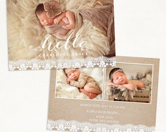 Birth Announcement Template for Photographers - 7x5 Photo Card - Sweet Baby 22 - ID238, Instant Download