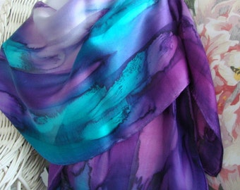Scarf, Silk, Women, Hand Dyed, Hand Painted, Northern Lights Hand Dyed Silk Scarf