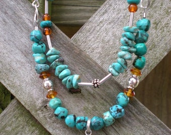 Desert Oasis beaded necklace, turquoise and amber with sterling silver, one of a kind