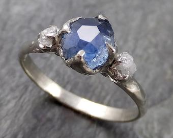 Partially faceted Montana Sapphire Diamond 14k White Gold Engagement Ring Wedding Ring Custom blue Gemstone Ring Multi stone Ring 1141