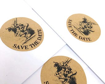24 x Alice in Wonderland save the date stickers, save the date stickers, save the date envelope seals, engagement seals, save the date, 183