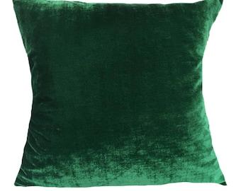 Green Velvet Pillow, 24 inch , 26 inch Euro Sham, Euro. Dark Green Pillow, Decorative Pillow Throw Pillow All Sizes.