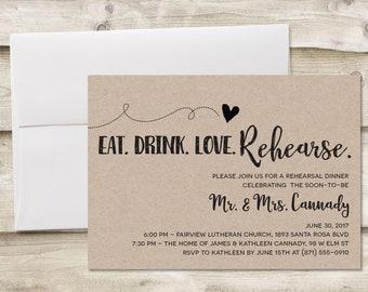 Rustic Rehearsal Dinner Invitation, Rehearsal Dinner Invitation, Invitation for Rehearsal Dinner, Wedding Rehearsal Dinner Invitations