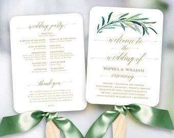 Greenery Wedding Fan Program Printable Template Programs
