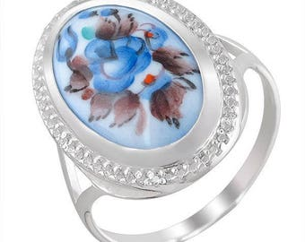 A silver ring with enamel