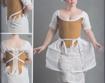 Simplicity 8579 Misses 18th Century Undergarments Shift Chemise Corset Panniers UNCUT Sewing Pattern
