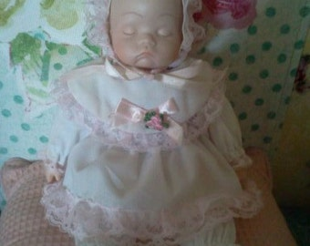 BABY Doll Gift...Melt My Heart ...Vintage Porcelain Sleepping Baby Doll