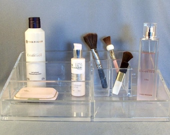 Clear Acrylic Cosmetic Organizer // High Quality //  Well Built // 7 Compartments // Make-Up Caddy