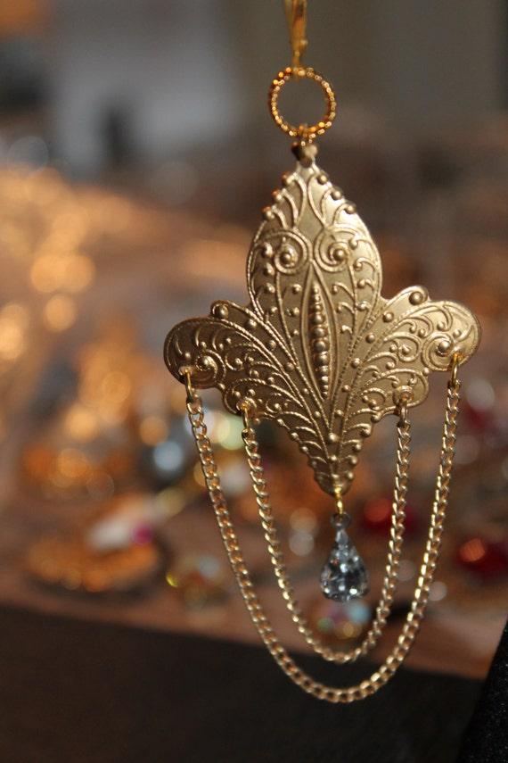 """Dangle Earrings """"Fleur de lis"""" Vintage assemblage Repurposed, Brass Stampings, Faceted Crystals, OOAK"""