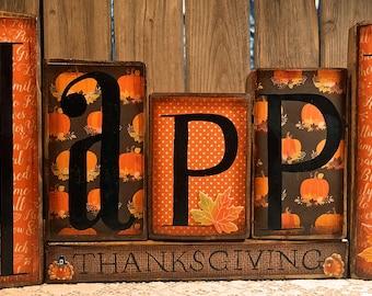 Thanksgiving Hand Painted Blocks