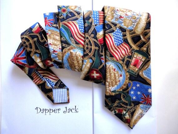 Sailor Print Neck Tie, ties for men, men's ties, navy tie