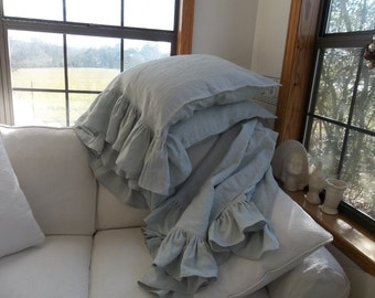 French Blue Ruffled Linen Throw Long Ruffled Linen Pillowcases Ruffled Linen Bed Scarf Ruffled Linen Pillows Sold Separately or Set