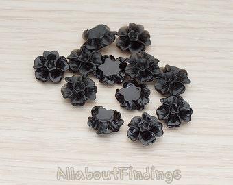 CBC138-BL // Black Colored Morning Glory Flower Flat Back Cabochon, 6 Pc