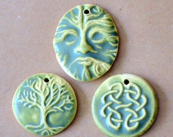 3 Handmade Ceramic Celtic Beads in Sage Green - Celtic Knot,  Greenman and Tree of Life Beads - Sage Green Pendants - Focal beads - Charms